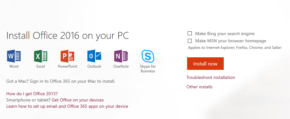 Screenshot of download screen for Office 2016