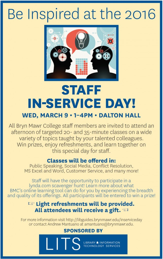 Poster for the Staff In-Service Day