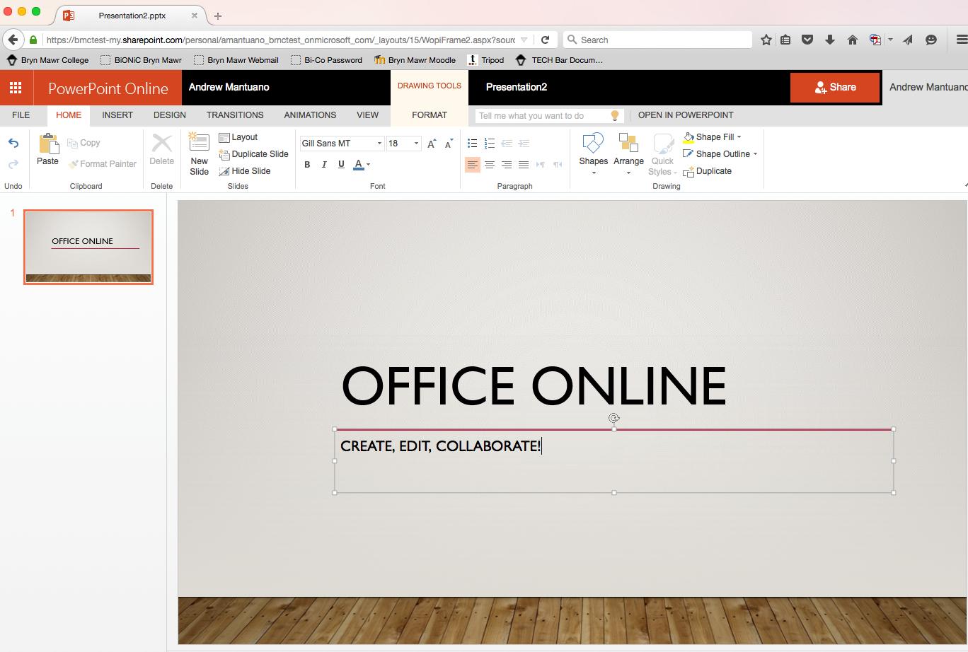 Screenshot PowerPoint Online for Mac