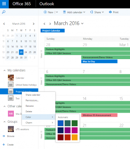 Categorize and color-code calendars and appointments