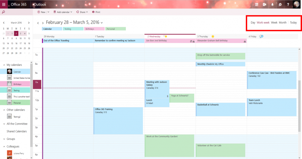 Screenshot of OWA Calendar - views