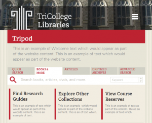 mock-up of redesigned Tripod - top of page