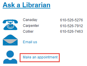 screen shot of Make an Appointment link on Library home page