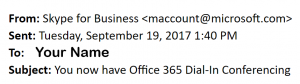1 of 2 screenshots of the Office 365 Dial-In Conferencing welcome email