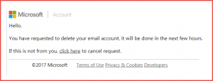 screen shot of phishing message