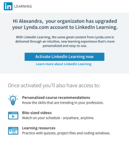 screen shot of activation email showing button to Activate LinkedIn Learning now