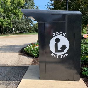 Library book drop outside of Canaday