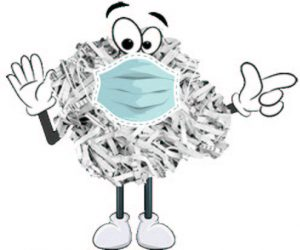 Shreddy, a cartoon character consisting of a crumpled ball of shredded paper, wearing a mask and pointing
