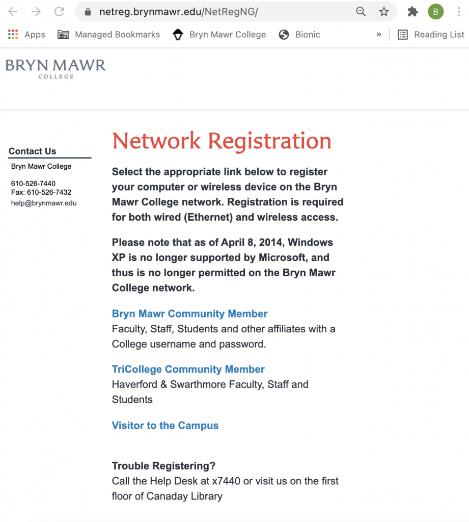 Image of the Network Registration webpage