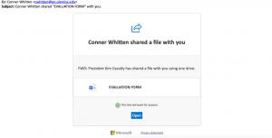 screen shot of phishing message described in post